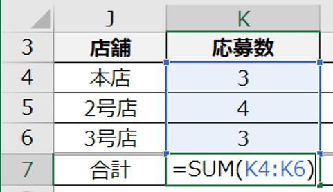 SUM使用中の図